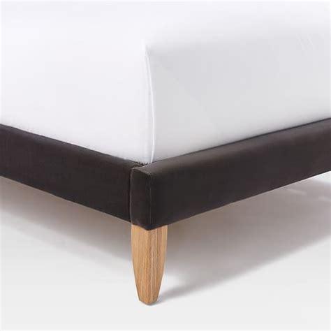 bed leg tall nailhead tapered leg bed shadow velvet west elm