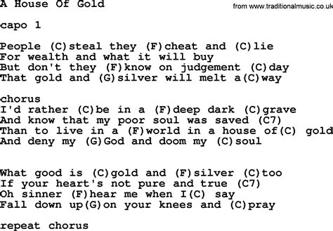house of gold guitar chords hank williams song a house of gold lyrics and chords