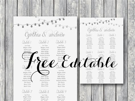 Free Night Light Wedding Chart Printable Bride Bows Wedding Seating Chart Poster Template Word