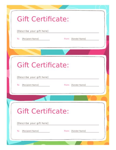 custom printable gift certificates free download best s template
