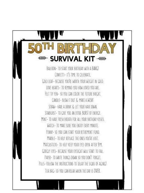 50th birthday survival kit shops home and survival kits