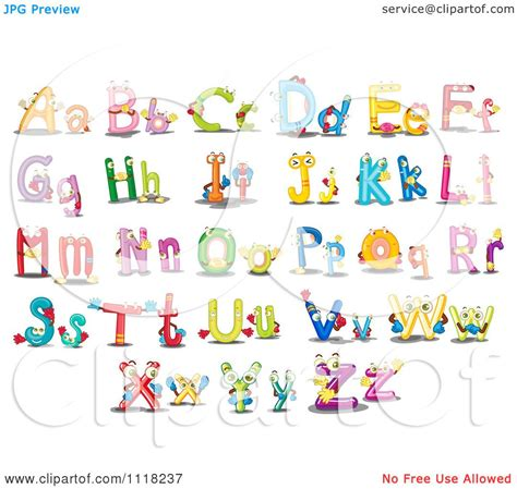 vector clipart of colorful capital and lowercase alphabet
