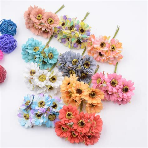 fake flowers 6pcs silk forest style daisy artificial flower bouquet for