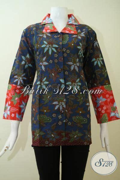 Baju India Kw 95 baju batik blus formal warna biru donker kombinasi orange batik jawa motif bunga khas