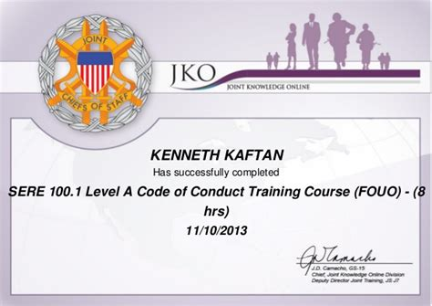 sere 100 certificate template sere 100 1 level a code of conduct course