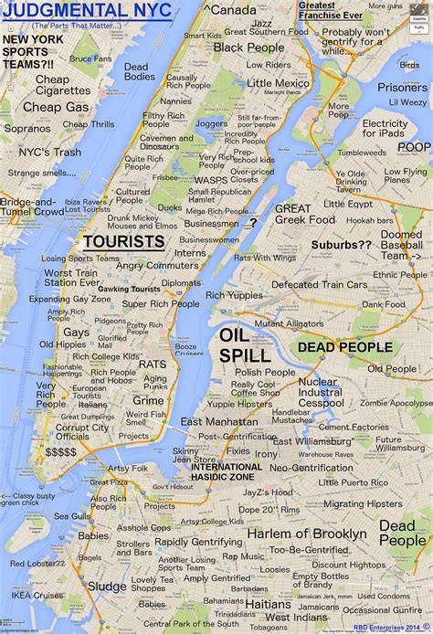 new york neighborhood map roosevelt islander judgmental map of new york city neighborhoods roosevelt island s a