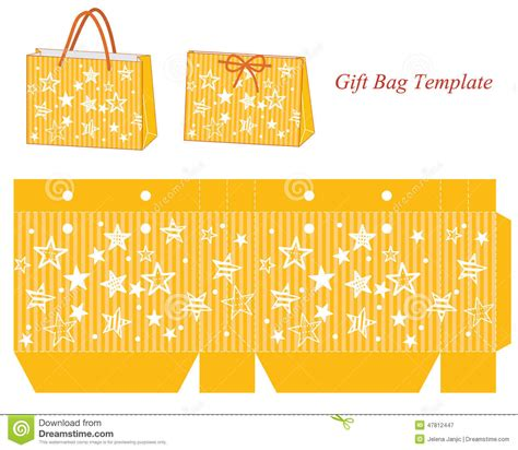 Yellow Gift Bag Template With Stars Stock Vector Illustration 47812447 Gift Bag Template