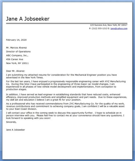 Resume Cover Letter Engineering Cover Letter Mechanical Engineer Sle Resume Downloads