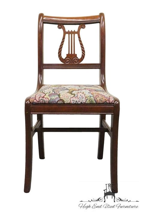 Lyre Back Chairs 1950s Antique Duncan Phyfe Mahogany Harp Lyre Back Chair