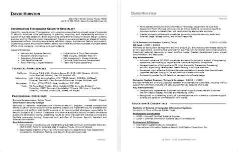 Sample resume for an information security specialist