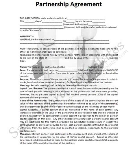 partnership agreement template free 7 best images of business partnership agreement template