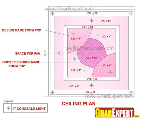 Celing Window Pop False Ceiling Design With Grooves Made At The Center
