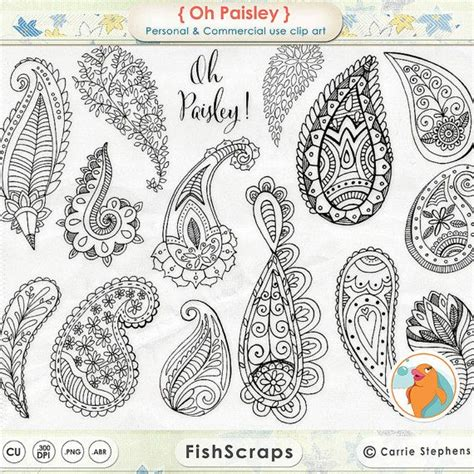 boho pattern drawing boho clipart paisley doodle line art digital sts