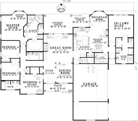 new home plans with inlaw suite plan w59679nd open living with in law suite e