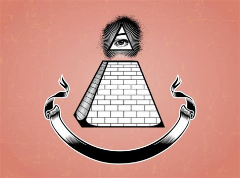illuminati pyramid eye illuminati pyramid eye and a ribbon vector free