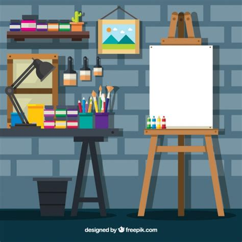 drawing studio free studio with a brick wall vector free