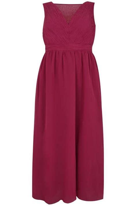 Id 740 Split Mesh Dress chi chi dunkel rosa maxi kleid mit strass mesh ausschnitt