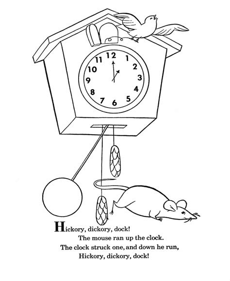 Hickory Dickory Dock Coloring Pages hickory dickory dock coloring page coloring home