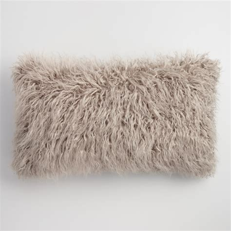 faux fur lumbar pillow oversized mocha mongolian faux fur lumbar pillow world
