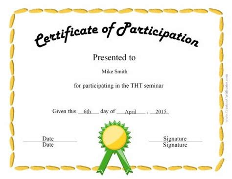 free templates for participation certificate free certificate of participation customize online print