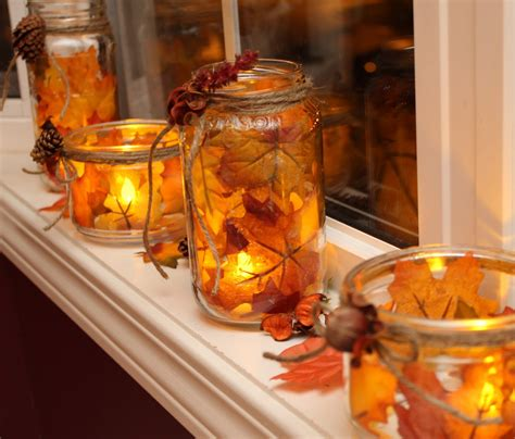 Home Made Fall Decorations by Turtles And Tails Fall Decor Jar Foliage Candles