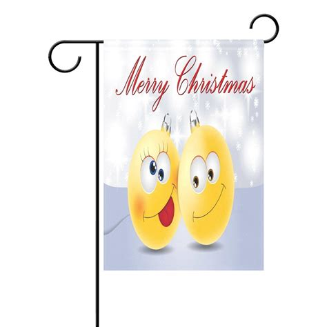 popcreation funny emoji emotion garden flag merry christmas outdoor flag home party  inches