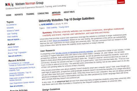 design guidelines nielsen ten guidelines for university websites from the nielsen