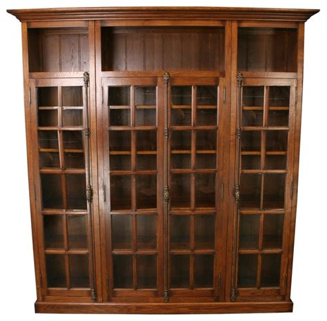 Bookcase Glass Doors by New Oak Bookcase Four Glass Doors Consigned Antique