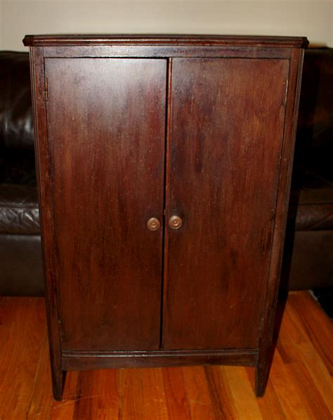 Antique Record Cabinet ? Solid Mahogany   Picked Vintage