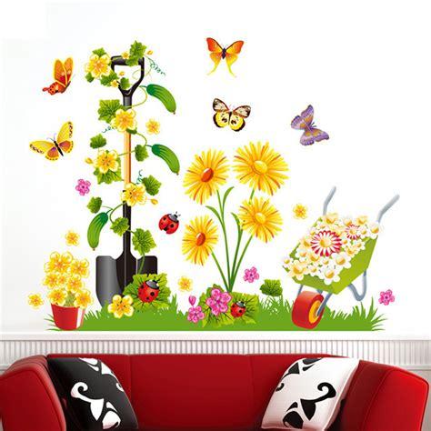 3d butterflies wall sticker living room bedroom background 1pcs cartoon garden flower butterfly 3d wall sticker