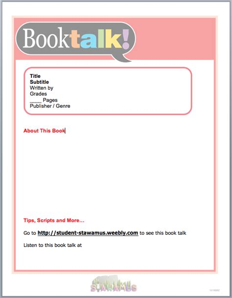 book talk template choice image templates design ideas