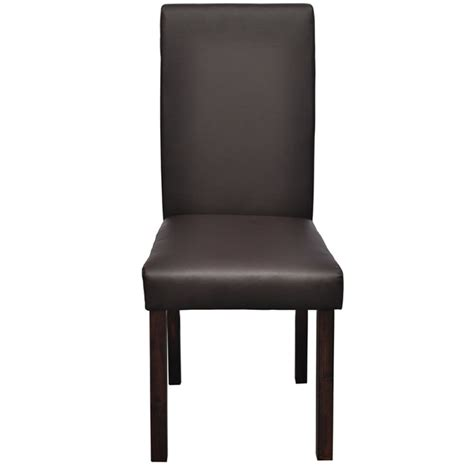 Wood And Leather Dining Chairs 6 Pcs Artificial Leather Wood Brown Dining Chair Vidaxl Co Uk