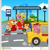 Animals At Bus Stop Waiting School Bus Stock Vector - Image: 47958061