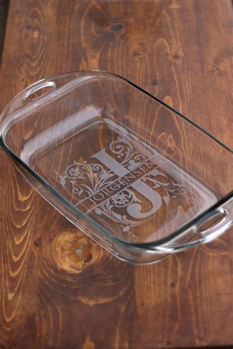 glass etching designs for kitchen 6 monogrammed baking dishes by evanchandlerdesigns on etsy