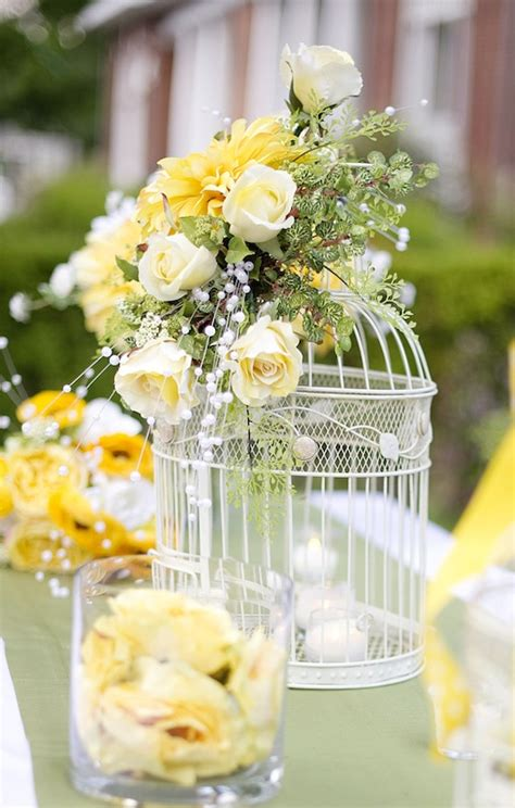 Large Birdcage And Yellow Flower Centerpiece Idea Summer Summer Table Centerpieces