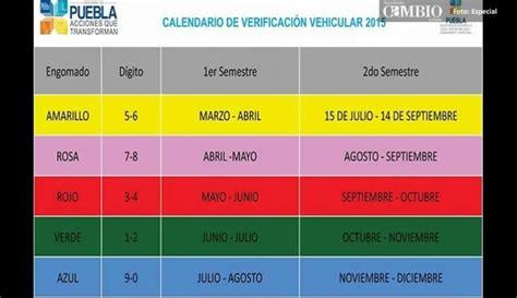 calendario de verificaciones 2016 veracruz verificacion vehicular 2016 en puebla