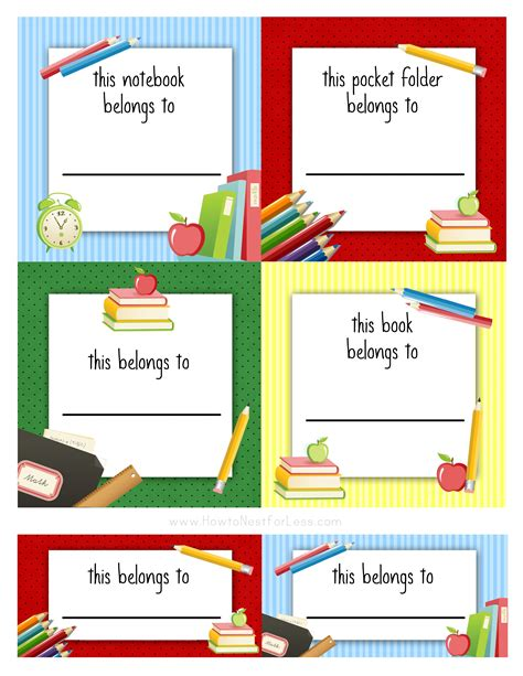 Kids School Labels Printables And Templates On Pinterest Lunch Box Notes Back To School School Book Labels Template