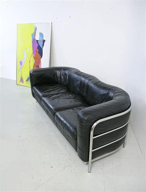 zanotta sofa for sale zanotta onda black leather and chrome sofa