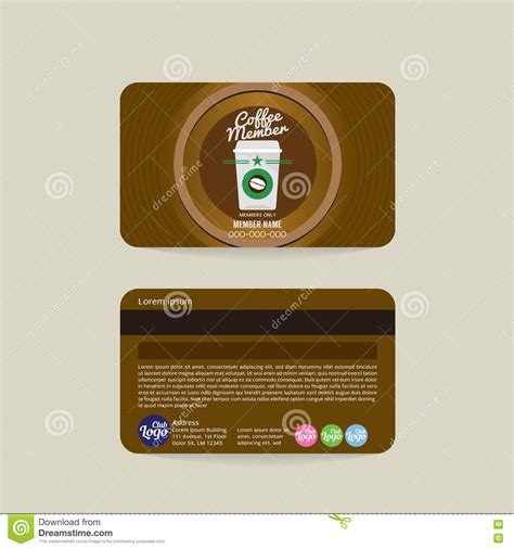 coffee club card template front and back coffee shop member card template stock