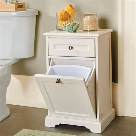 bathroom tidy ideas this cabinet hides your vanity sized trash and helps keep