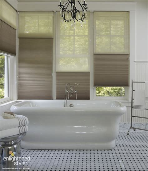 How To Clean Blinds In The Bathtub by Honeycomb Shades Bathroom Traditional Bathroom
