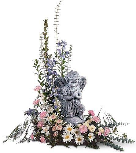 angel  pastel flowers funeral flowers funeral