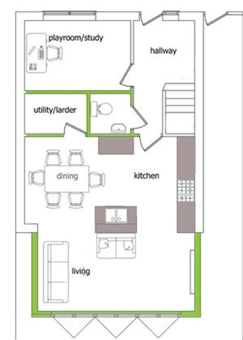 kitchen extension floor plans playroom with front window utility where chimney breast