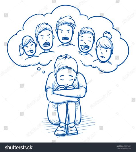doodle with others sad boy sitting huddled on stock vector 475976221