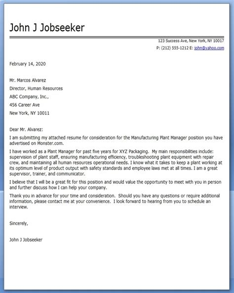 manufacturing plant manager cover letter resume downloads