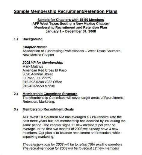 Membership Strategy Template 8 Recruitment Plan Templates Download For Free Sle Templates