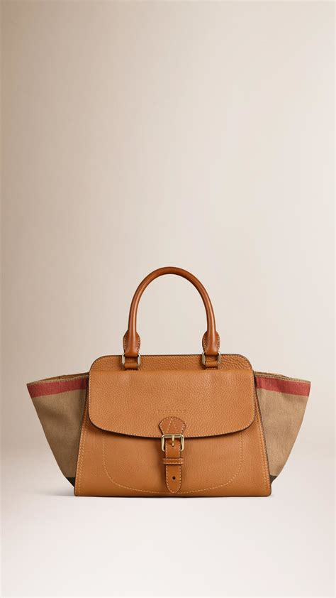 Burberry Check Canvas Tote by Burberry Medium Canvas Check And Leather Tote Bag In Brown
