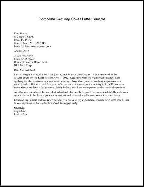 resume cover letter sles for security officer sle security officer cover letter free sles