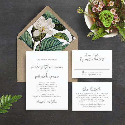 magnolia wedding invitations minimal wedding invitation green leaves magnolia script