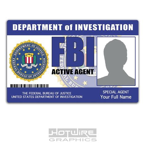 Novelty Id Card Template by Personalised Printed Novelty Id Fbi United States